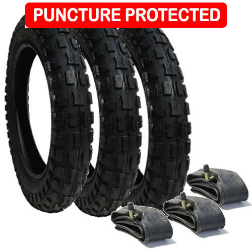 Puncture ProtectedTyre /& Inner Tube Set Chunky Tread x 3 for Mothercare Xtreme