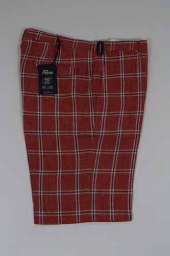 NWT Rota 100/% Linen Men/'s Shorts Rusty Red//Blue//Off-White Plaid/&Check 40US//56EU