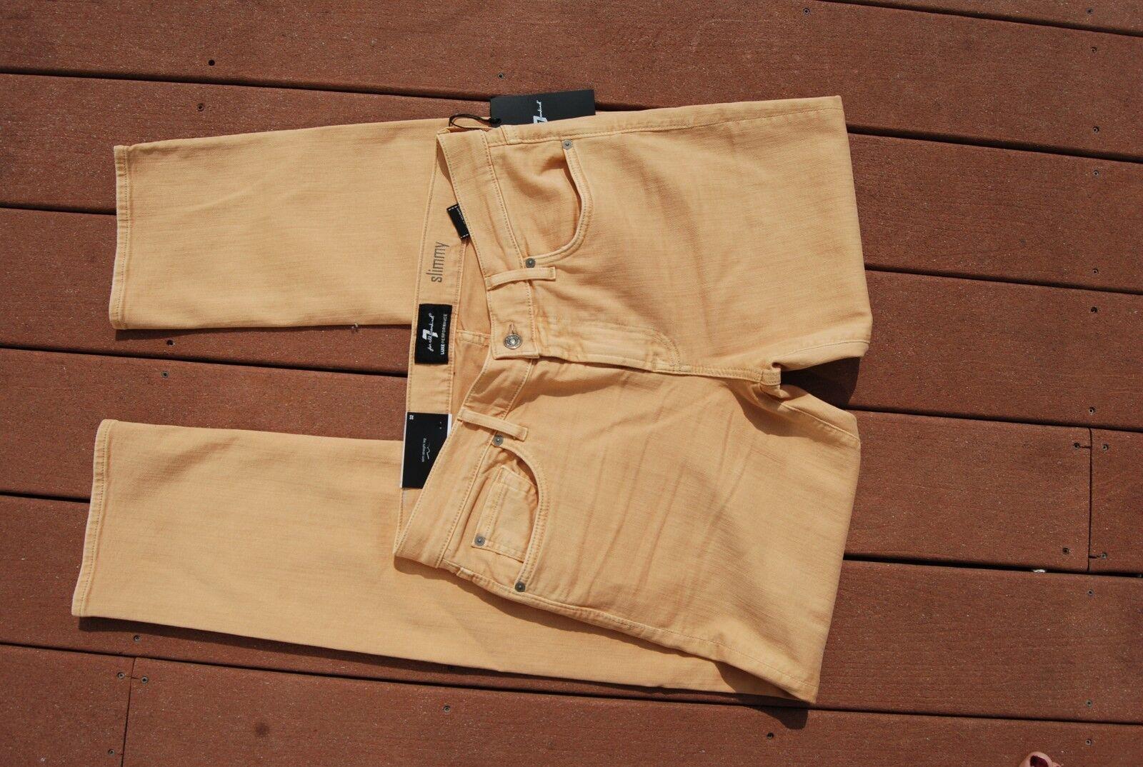 NWT Yellow Ochre Denim 7 FOR ALL MANKIND Slimmy Straight Leg Stretch Jeans 32