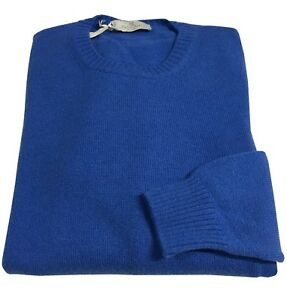 redondo hombre Lana 10 90 para Made Panicale Suéter Italy In Cashmere Azul Cuello qEan6WIwH