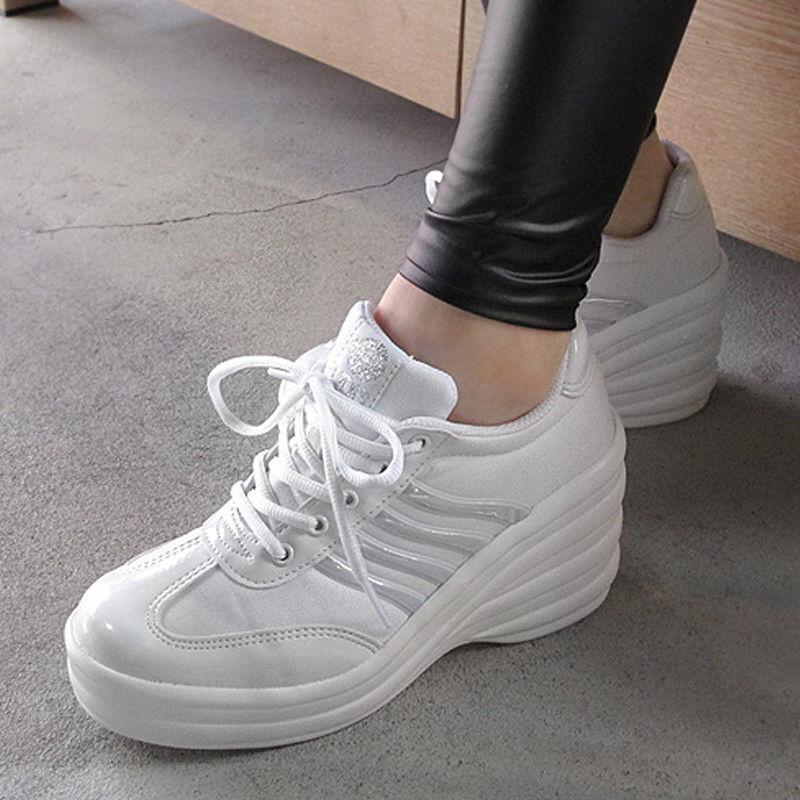 mujer Cheerleaders zapatos High Heel zapatillas Wedge Platforms 3.5