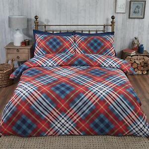 Tartan-King-Set-Housse-de-Couette-100-Coton-Brosse-Naturel-Bleu-Rouge