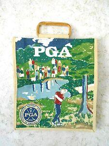 Pga Toile De Jute Imprimé Sac Cabas Sac De Las Vegas Pro Shop Bambou Poignées Golfting-afficher Le Titre D'origine