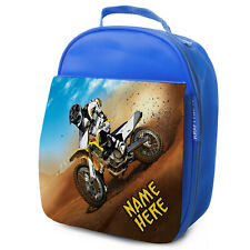 Personalised BMX Lunch Bag Blue Bike Gamer School Insulated Lunchbox Kids ST723