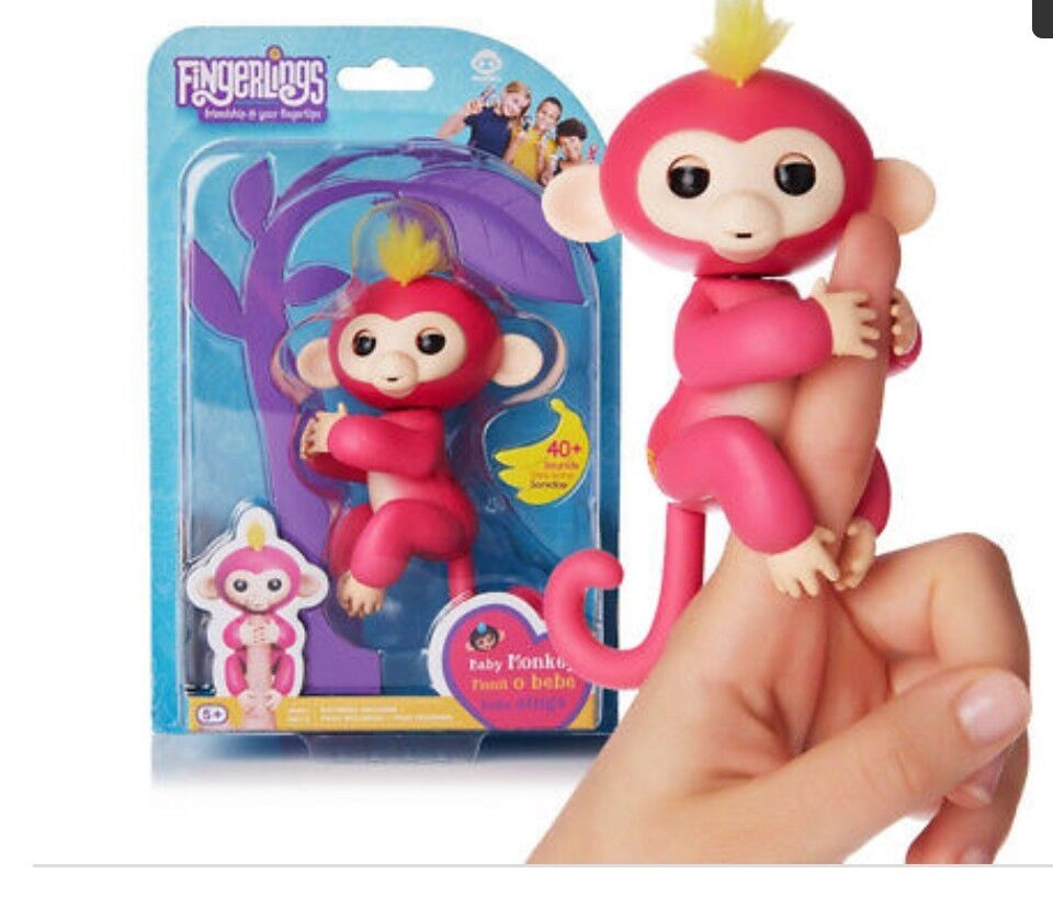 FINGERLINGS Fingerling BELLA PINK Interactive Baby Monkey w  yellow hair  WowWee
