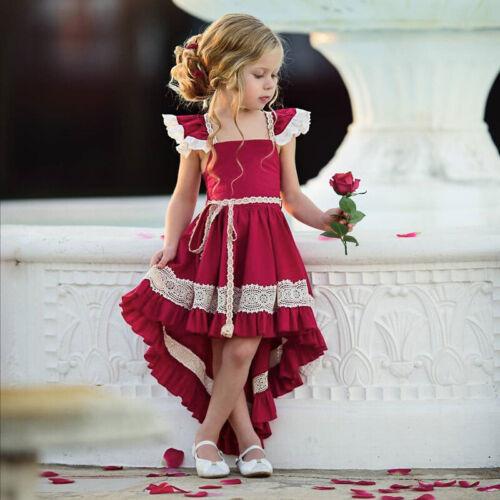 Kinder Mädchen Prinzessin Kleid Brautjungfer Rüsche Party Abendkleid Sommerkleid