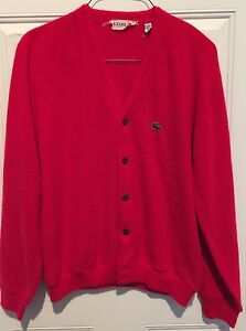 VTG Izod of London Lacoste *Made in USA* V-Neck Cardigan Red ...