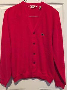 VTG Izod of London Lacoste *Made in USA* V-Neck Cardigan Red ...