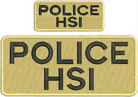 Police Hsi Embroidery Patches 4x10 And 2x5 Hook On Back Black Letters