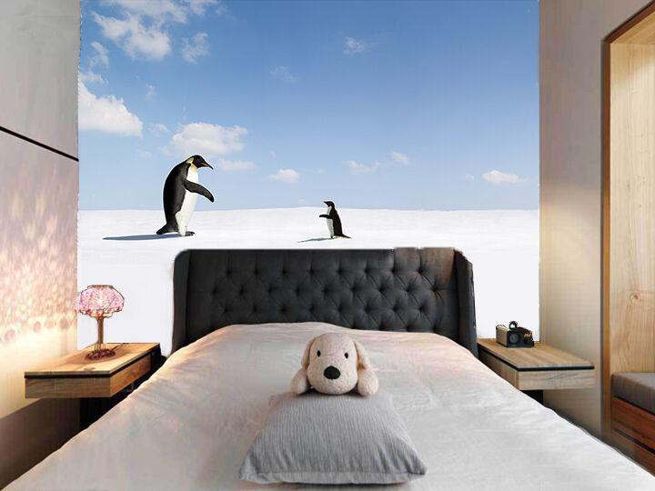 3D Der Pinguin - Vater Sohn 1 Fototapeten Wandbild Fototapete BildTapete Familie