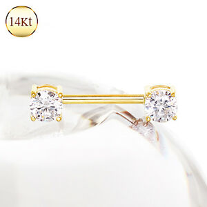 93c2e94b7e0deb 14K Solid GOLD Pronged Czech Cubic Gem Nipple Ring Bar Barbells ...