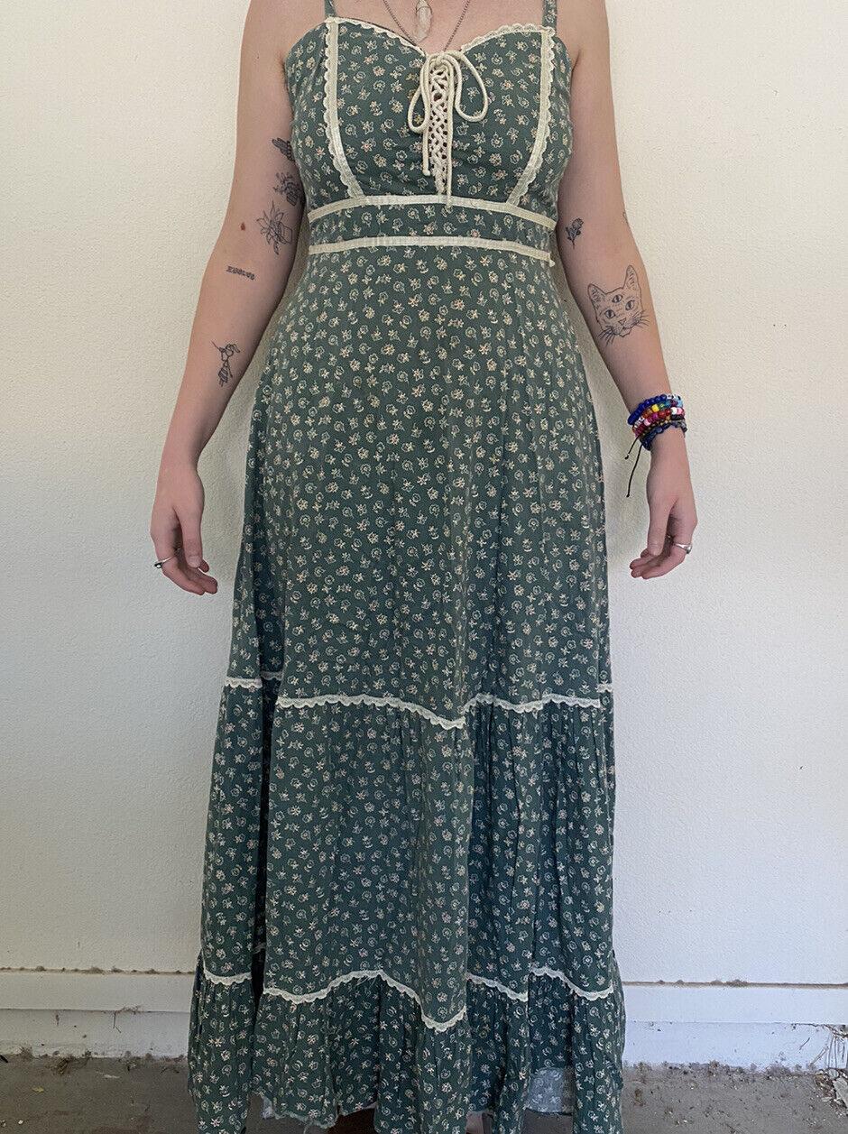 vintage Gunne sax green floral prairie dress  - image 1