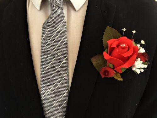 D Wedding buttonholes flowers corsage bride bridesmaid groom red rose bud