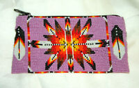 Beaded Tote Bag Native American Design Fabric Lined Zips Close 7x3.5 Pink