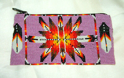 "Beaded Tote Bag Native American design Fabric Lined Zips close 7x3.5"" PINK"