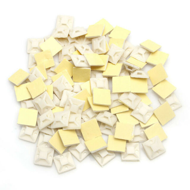 100Pcs 20mm Mounts Mounting Base Clamps Clips Self Adhesive Cable Wire Zip Tie J