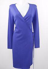 Nina Leonard Royal Blue Robe Style Long Sleeve Wrap Dress Size Medium