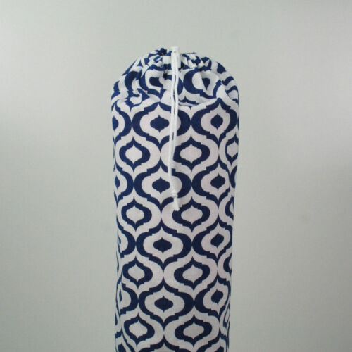 white /& blue Yoga//Pilates Mat Bag with Adjustable Carry Strap Fits Mat 6mm