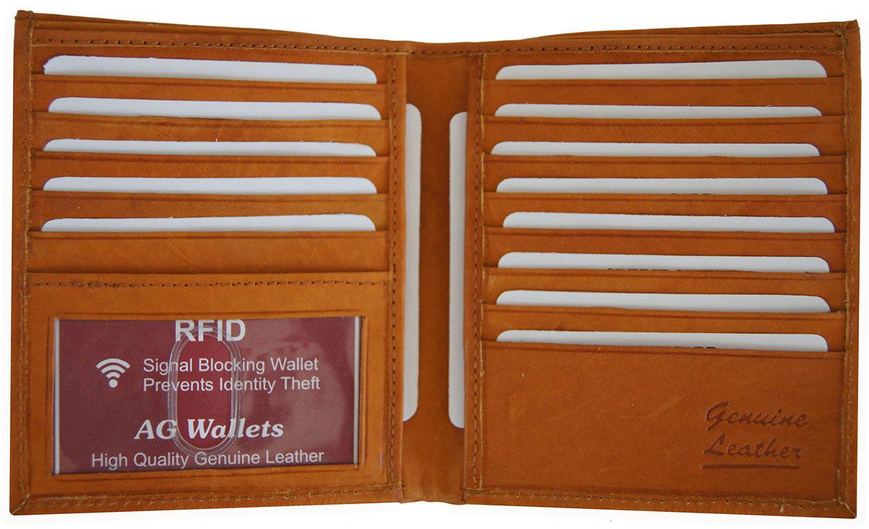 cb36daf1f2ac RFID Signal Blocking Cow Leather European Hipster Credit Card ID Tan Wallet