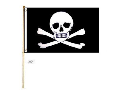 5/' Wood Flag Pole Kit Wall Mount Bracket W// 3x5 Pirate Richard Worley Small Flag