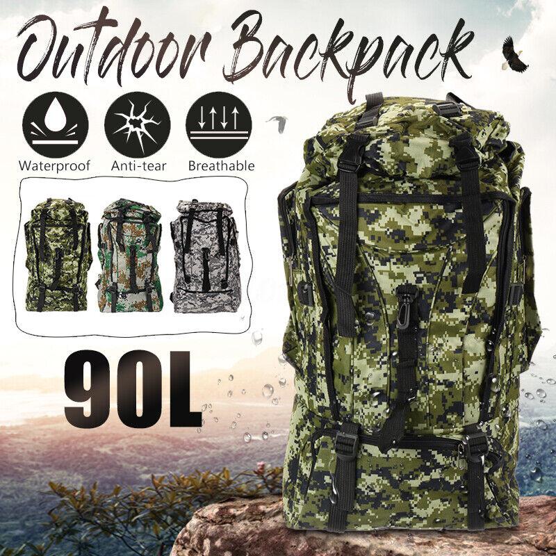 90L Military Rucksacks Tactical Backpack Camping Hiking Trekking Bag O... - s l1600