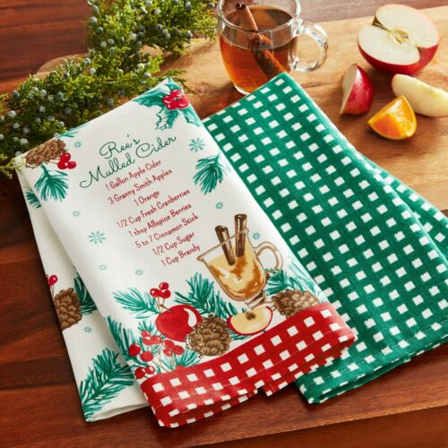 Pioneer Woman HOLIDAY EDITION Kitchen Towels 2//Set Gingerbread,Peppermint,Cider