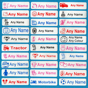 50 printed iron on name labels personalised school quality tape tags