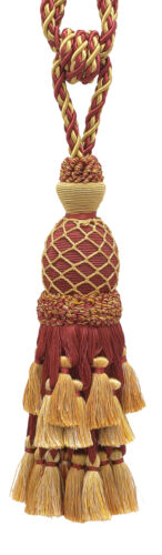 Burgundy Red Gold 11 Tassel Tieback Royal Romance [Invidual]
