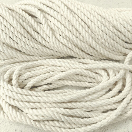 macramé Craft 6 Mm x 5 M HQ Natural Blanco puro sin tratar cuerda de algodón bolsa de manejar