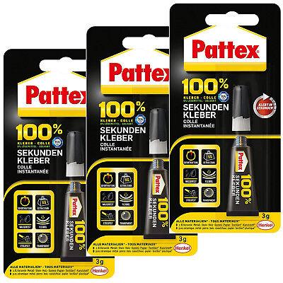 Kleber Baustoffe & Holz 3x Pattex 100% Sekundenkleber P1sk3 3g Extra Stark Wasserfest Flexibel Stossfest Moderater Preis