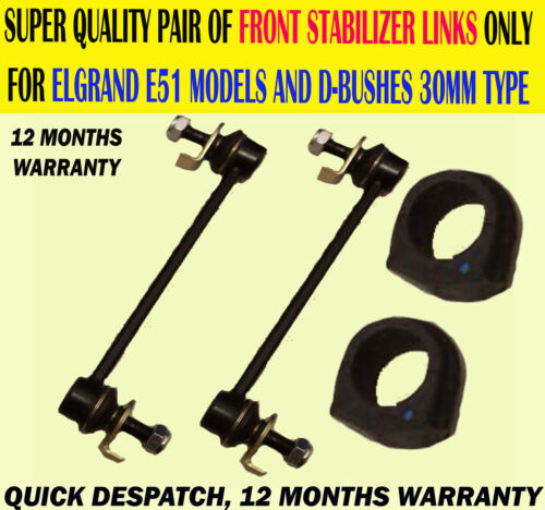S/'adapte ELGRAND 2.5 3.5 02-10 E51 Avant Stabilisateur Sway Bar Anti Link /& D Bush Kit