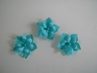 Lot Fleurs tissu Bleu Turquoise  coudre//coller Mariage//Mariée//Scrapbooking//Bijou