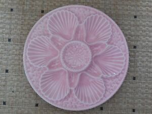 ANTIQUE-French-Majolica-OYSTER-PLATE-LONGCHAMP-FRANCE-pink