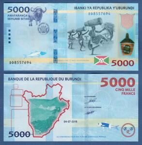 SincèRe Burundi 5000 Francs 2018 Unc P. (53b) New-afficher Le Titre D'origine Performance Fiable
