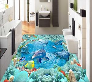 3D Sea Fish Dolphins 723 Floor WallPaper Murals Wall Print Decal AJ WALLPAPER US