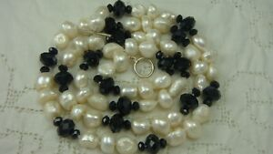 "VTG 36"" WHITE BAROQUE PEARL BLACK FACETED CRYSTAL 925 STERLING SILVER NECKLACE"
