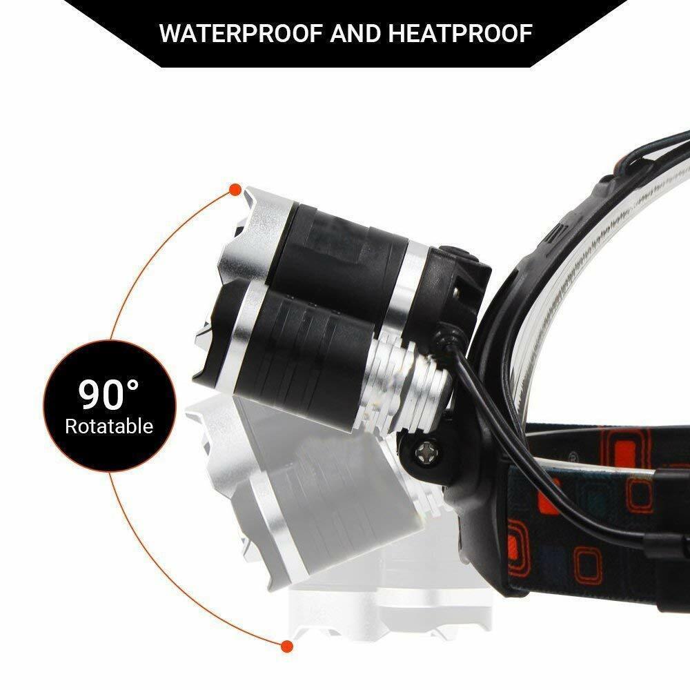 Waterproof 90000LM 3X T6 LED Headlamp Headlight Flashlight Head Torch 18650 Camp 9