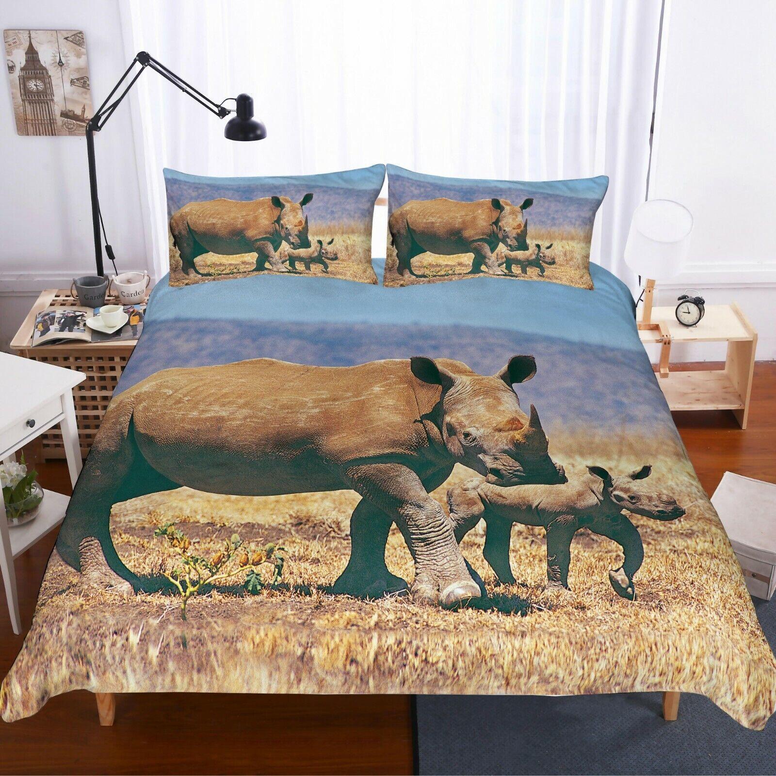 3D Rhinoceros Quilt Cover Set Bedding Duvet Cover Single Queen King 3pcs