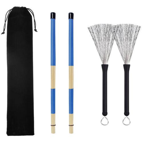 1 Paar Drum Sticks Drum Brushes Set mit Aufbewahrungstasche Blau