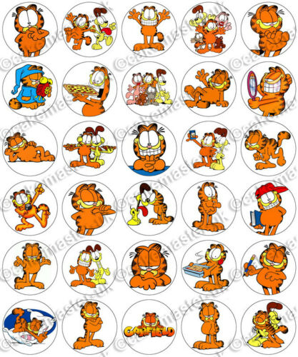 30 x GARFIELD /& ODIE Party Edible Wafer Paper Cupcake Toppers *PRECUT*