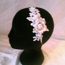 Ivory Vintage Lace Bridal Hair Head Band,Stunning Roses, Pearls & Diamanté's