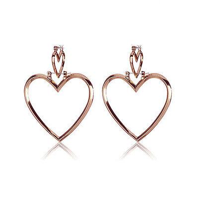 Fashion Women Hoop Gold Double Heart Earrings Dangle Hollow/Solid Ear Studs