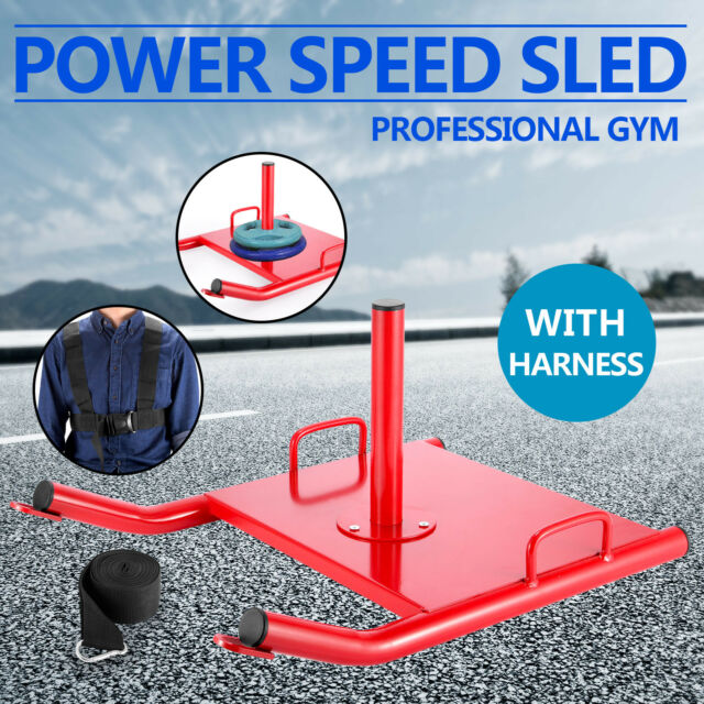 Fitness Power Sled Black Gym Weight Equipment Exercise Training Harness Strength