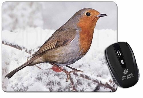 AB-R22M Winter Robin on Snow Branch Computer Mouse Mat Christmas Gift Idea