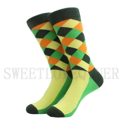 6 Pairs Mens Cotton Socks Lot Colorful Diamond Funny Argyle Casual Crew Sock SOX