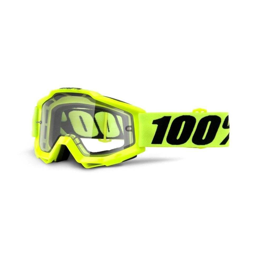 100% Accuri Enduro MOTO Goggles - Fluro Yellow With Clear Dual Lens