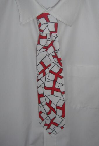 Boys Red and White England flags Tie Pre-tied elasticated