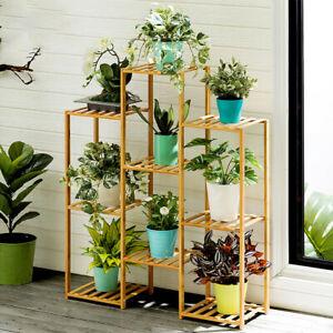 Multi Tier Bamboo Plants Stand Planter Rack Flower Pots Holder