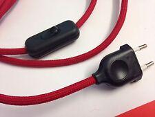 2m Premium Textilkabel-Zuleitung, rot 2x0,75, Stoffkabel mit Stecker + Schalter