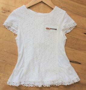 NWT-Mayoral-Girls-039-Ivory-Floral-Lace-Peplum-Top-Size-2